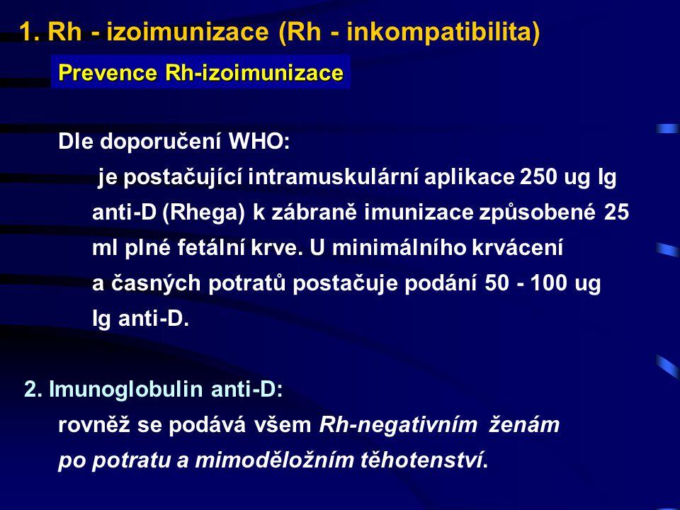 1. Rh - izoimunizace (Rh - inkompatibilita) Prevence Rh-izoimunizace Dle doporučení WHO: je postačující intramuskulární aplikace 250 ug Ig anti-D (Rhe