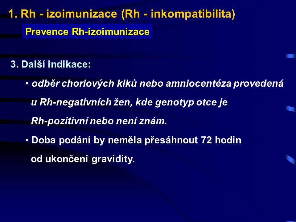 1. Rh - izoimunizace (Rh - inkompatibilita) Prevence Rh-izoimunizace 3. Další indikace: odběr choriových klků nebo amniocentéza provedená u Rh-negativ