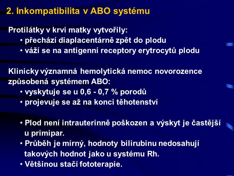 2. Inkompatibilita v ABO systému Protilátky v krvi matky vytvořily: přechází diaplacentárně zpět do plodu váží se na antigenní receptory erytrocytů pl