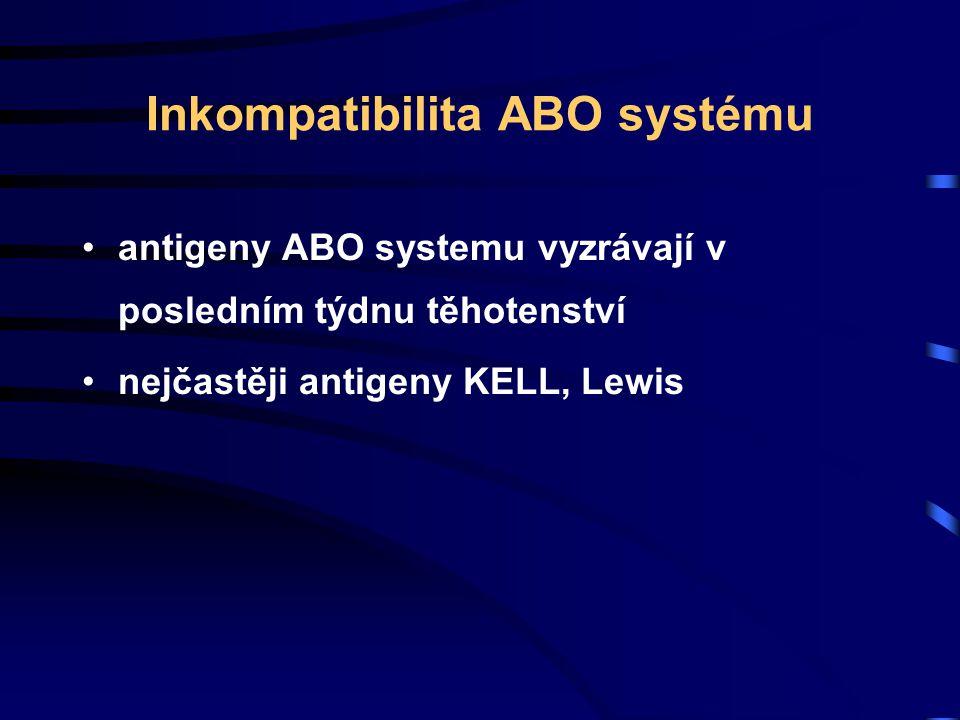 Inkompatibilita ABO systému antigeny ABO systemu vyzrávají v posledním týdnu těhotenství nejčastěji antigeny KELL, Lewis