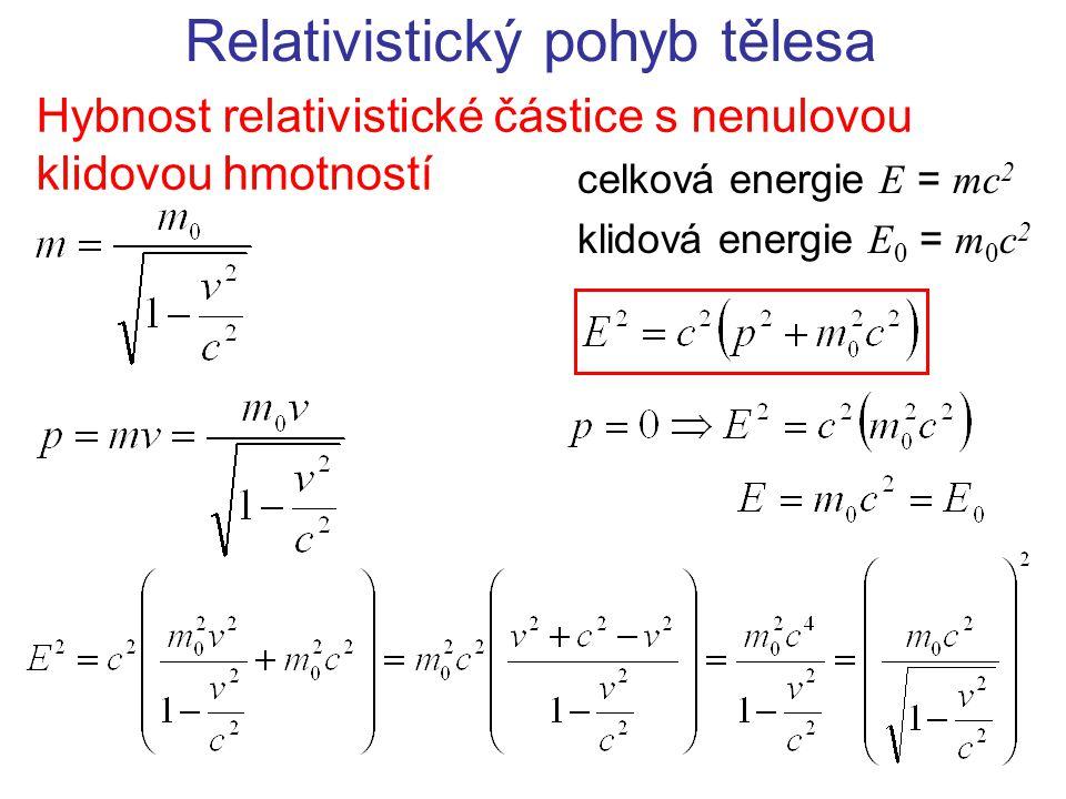 Relativistický pohyb tělesa Hybnost relativistické částice s nenulovou klidovou hmotností celková energie E = mc 2 klidová energie E 0 = m 0 c 2