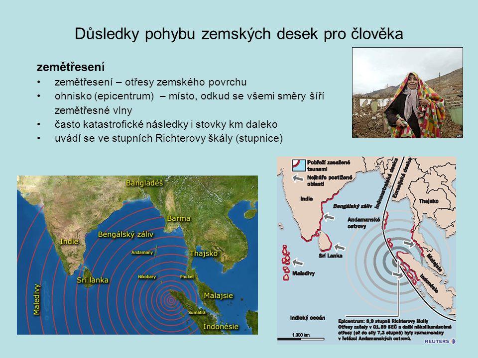 Důsledky pohybu zemských desek pro člověka zemětřesení zemětřesení – otřesy zemského povrchu ohnisko (epicentrum) – místo, odkud se všemi směry šíří z