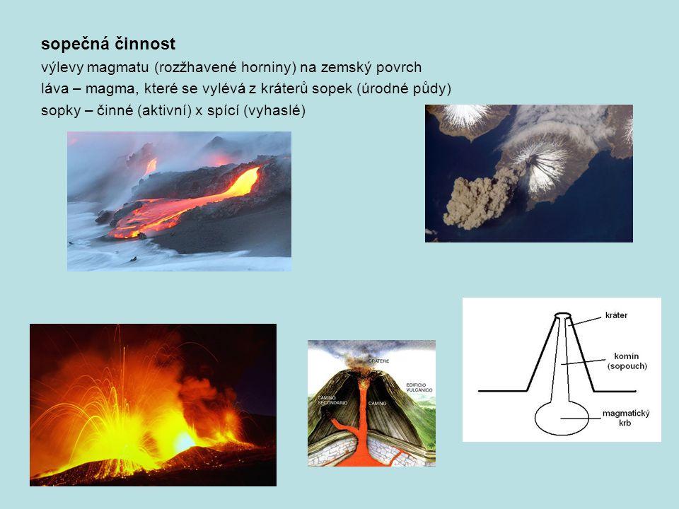 sopečná činnost výlevy magmatu (rozžhavené horniny) na zemský povrch láva – magma, které se vylévá z kráterů sopek (úrodné půdy) sopky – činné (aktivn