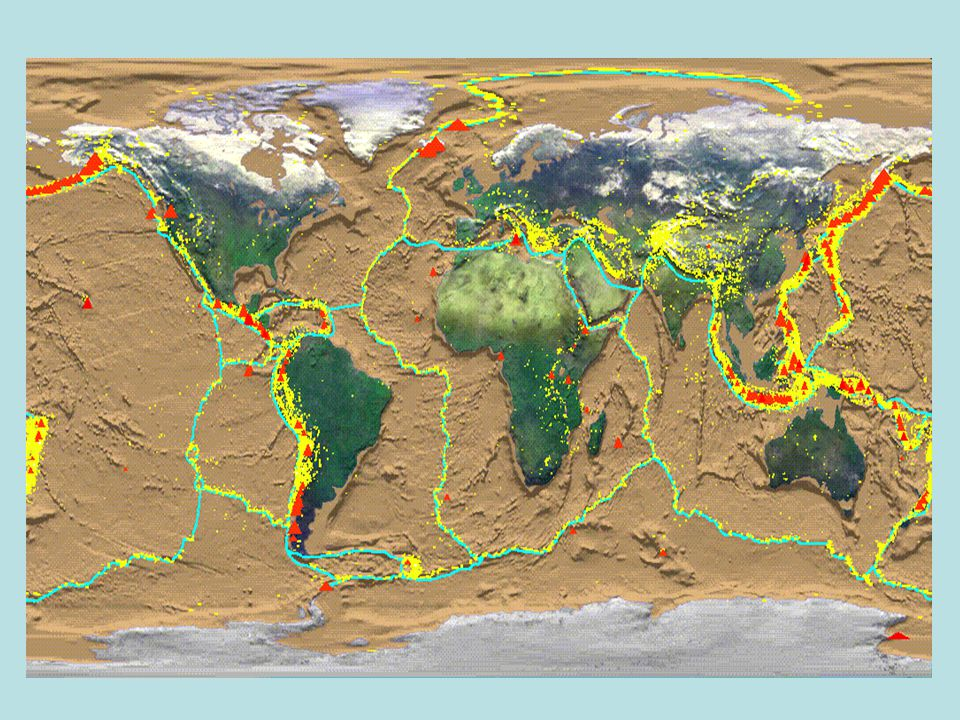 Kontinenty v pohybu zemské (litosférické) desky jsou neustále v pohybu ocánské zemské desky pevninské příčina pohybu: obrovská teplota uvnitř Země zahřeje okolní horniny – vznik pohybu vznik zemské kůry – středooceánské hřbety zánik zemské kůry – hlubokomořské příkopy desky na sebe naráží (podsouvají se) nebo se oddalují na kontaktu desek vznikají nebezpečné jevy:  zemětřesení ohnisko (epicentrum) – místo, odkud se všemi směry šíří zemětřesné vlny síla zemětřesení se udává v Richterově stupnici  sopečná činnost obr.