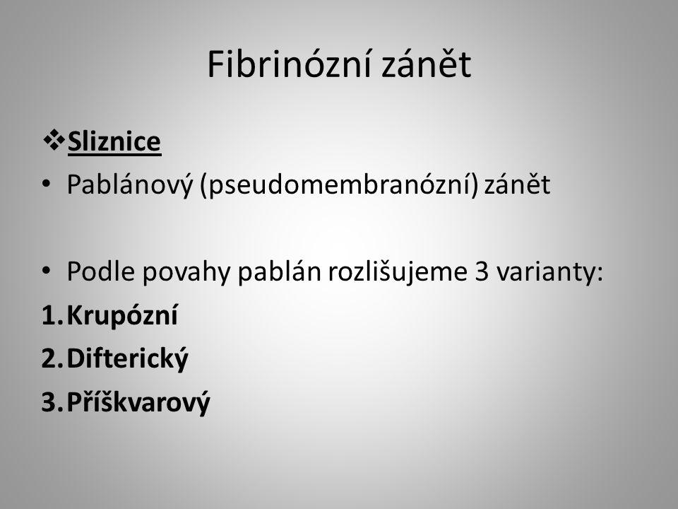 Fibrinózní zánět  Sliznice Pablánový (pseudomembranózní) zánět Podle povahy pablán rozlišujeme 3 varianty: 1.Krupózní 2.Difterický 3.Příškvarový