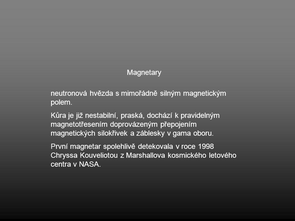 Magnetary neutronová hvězda s mimořádně silným magnetickým polem. Kůra je již nestabilní, praská, dochází k pravidelným magnetotřesením doprovázeným p
