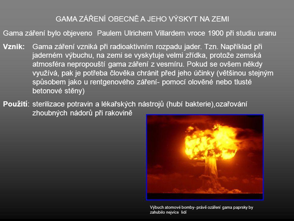 GAMA ZÁŘENÍ OBECNĚ A JEHO VÝSKYT NA ZEMI Gama záření bylo objeveno Paulem Ulrichem Villardem vroce 1900 při studiu uranu Vznik:Gama záření vzniká při