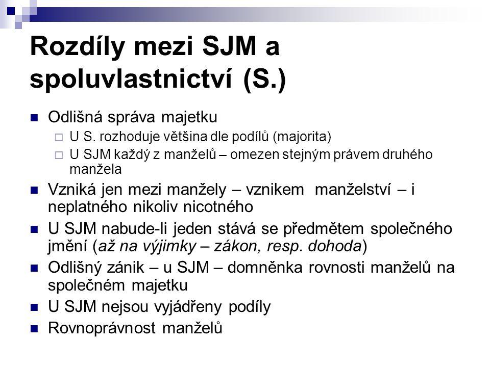 Rozdíly mezi SJM a spoluvlastnictví (S.) Odlišná správa majetku  U S.
