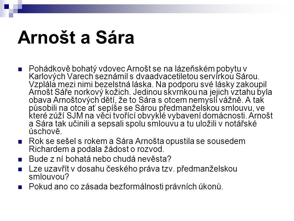 Pohádkově bohatý vdovec Arnošt se na lázeňském pobytu v Karlových Varech seznámil s dvaadvacetiletou servírkou Sárou.
