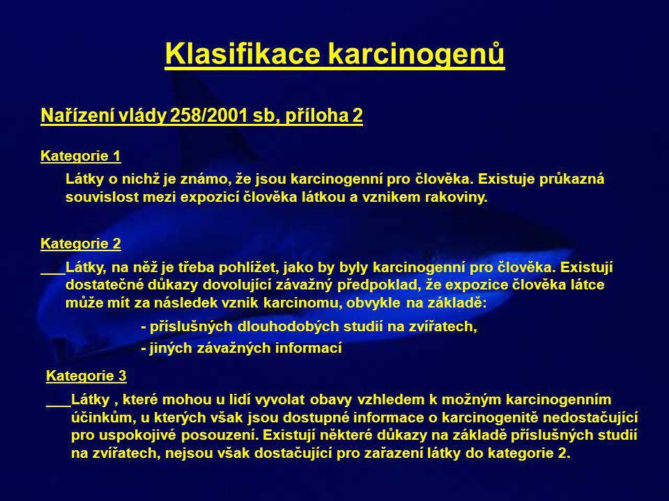 Klasifikace karcinogenů Nařízení vlády 258/2001 sb, příloha 2 Kategorie 1 Látky o nichž je známo, že jsou karcinogenní pro člověka.