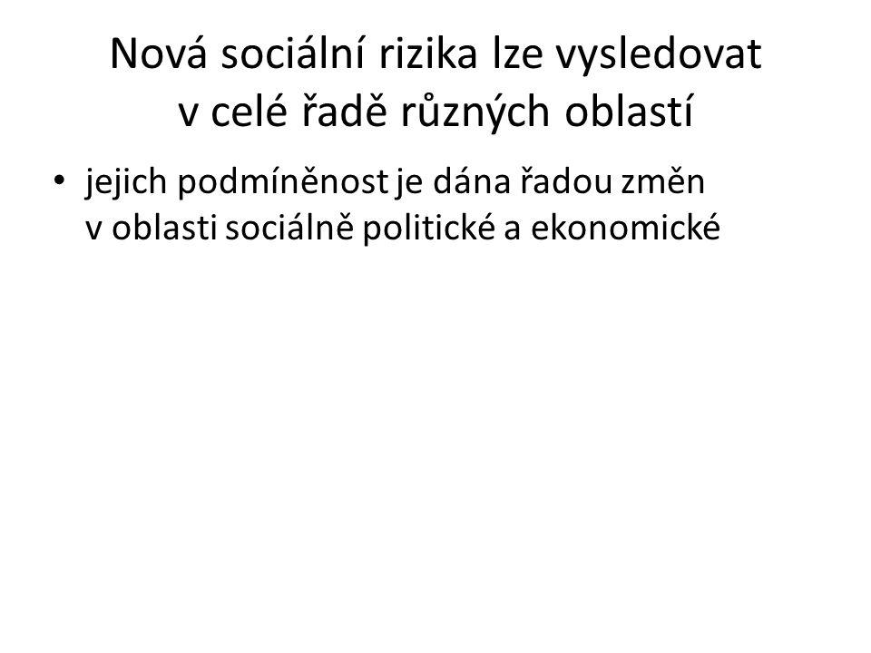 Nová sociální rizika lze vysledovat v celé řadě různých oblastí jejich podmíněnost je dána řadou změn v oblasti sociálně politické a ekonomické