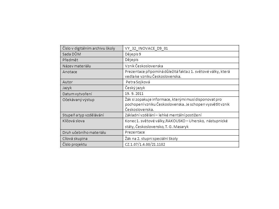 Číslo v digitálním archivu školyVY_32_INOVACE_D9_01 Sada DŮMDějepis 9 Předmět Dějepis Název materiáluVznik Československa Anotace Prezentace připomíná důležitá fakta z 1.
