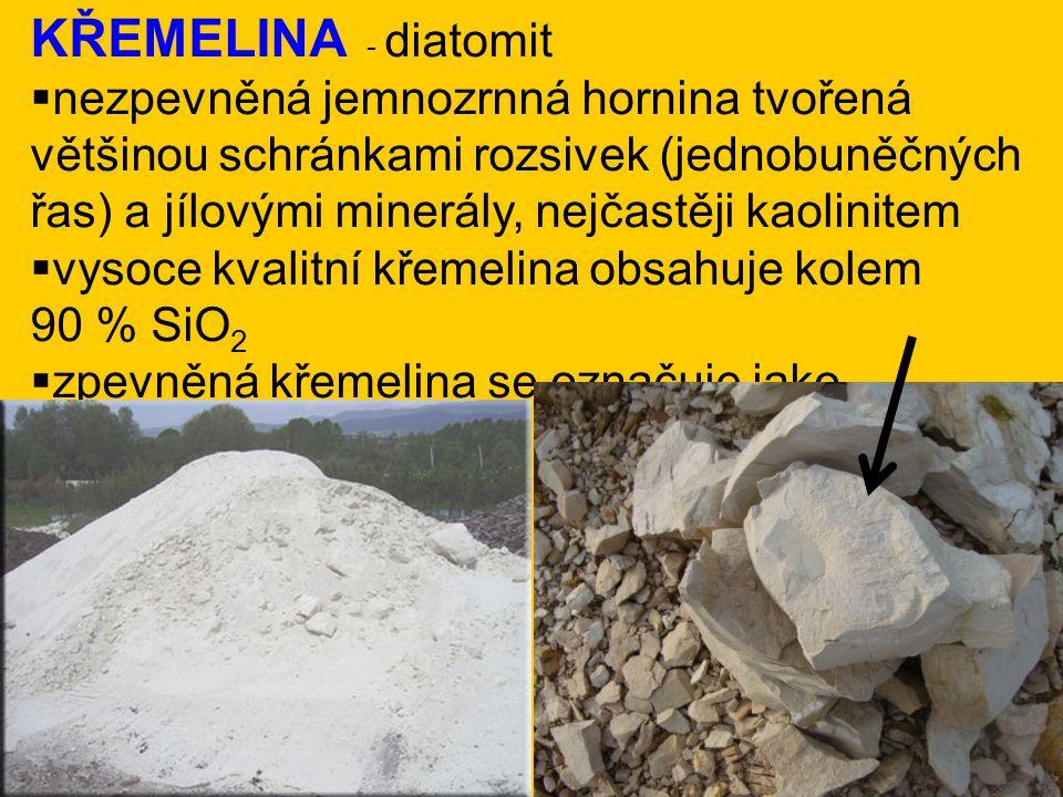 KŘEMELINA - diatomit  nezpevněná jemnozrnná hornina tvořená většinou schránkami rozsivek (jednobuněčných řas) a jílovými minerály, nejčastěji kaolini
