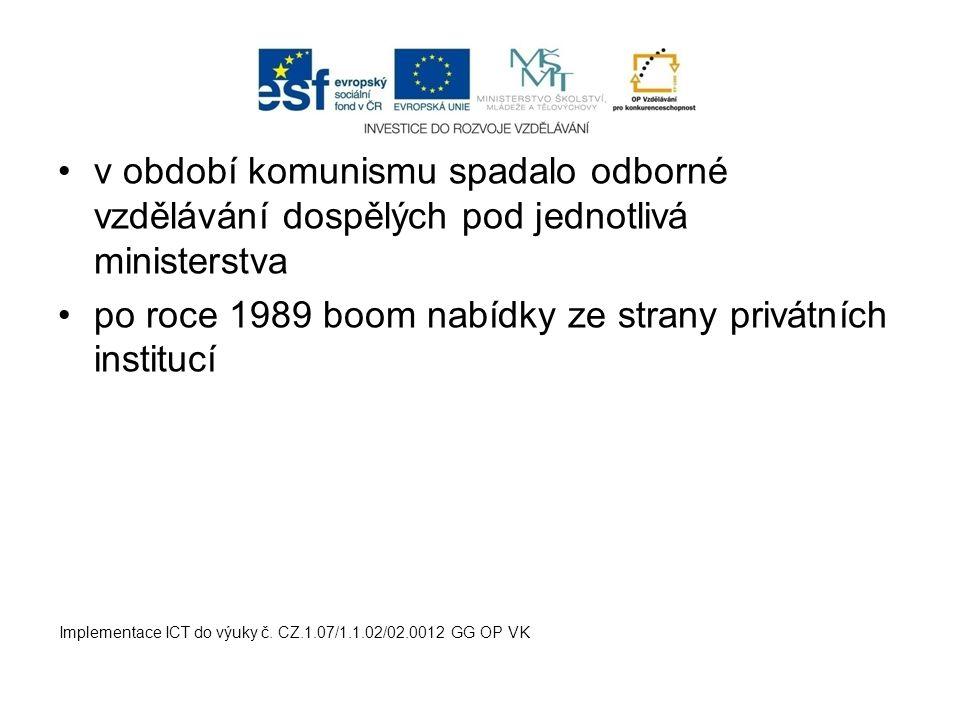 v období komunismu spadalo odborné vzdělávání dospělých pod jednotlivá ministerstva po roce 1989 boom nabídky ze strany privátních institucí Implement