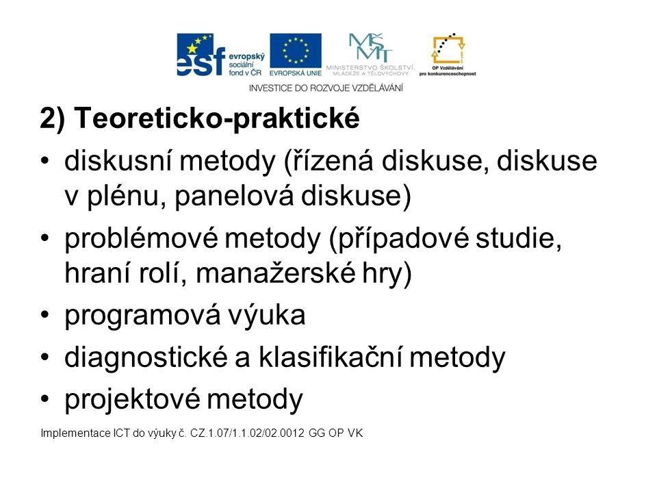2) Teoreticko-praktické diskusní metody (řízená diskuse, diskuse v plénu, panelová diskuse) problémové metody (případové studie, hraní rolí, manažersk