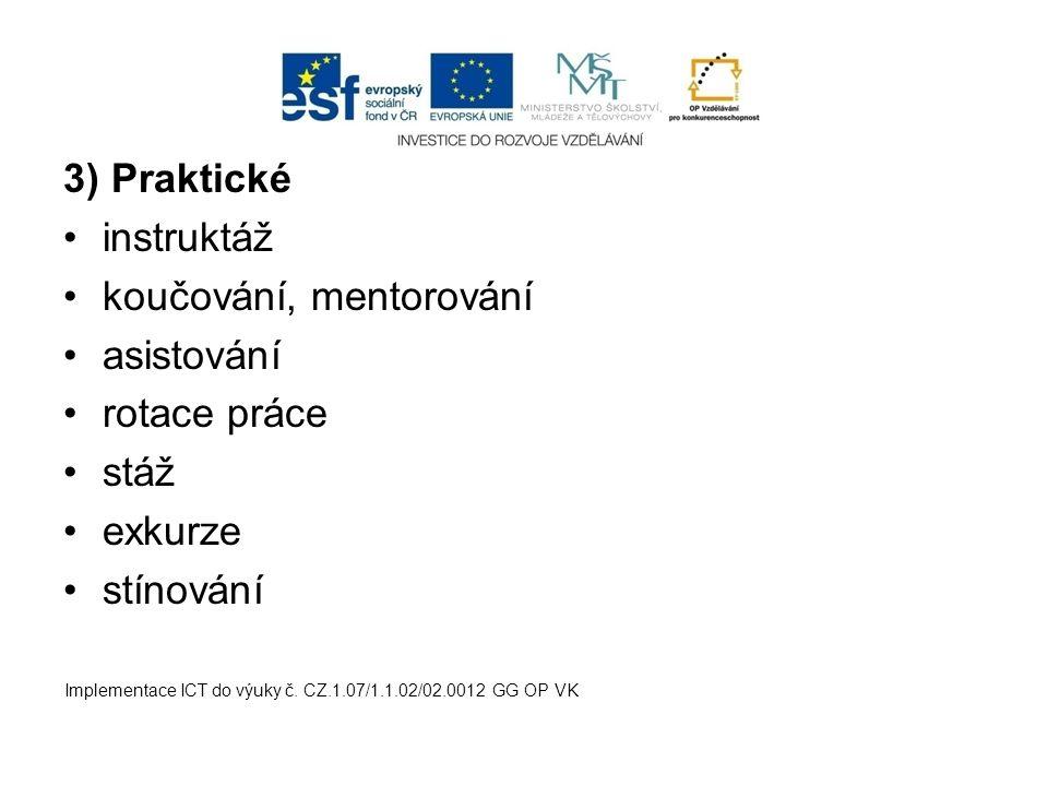 3) Praktické instruktáž koučování, mentorování asistování rotace práce stáž exkurze stínování Implementace ICT do výuky č. CZ.1.07/1.1.02/02.0012 GG O
