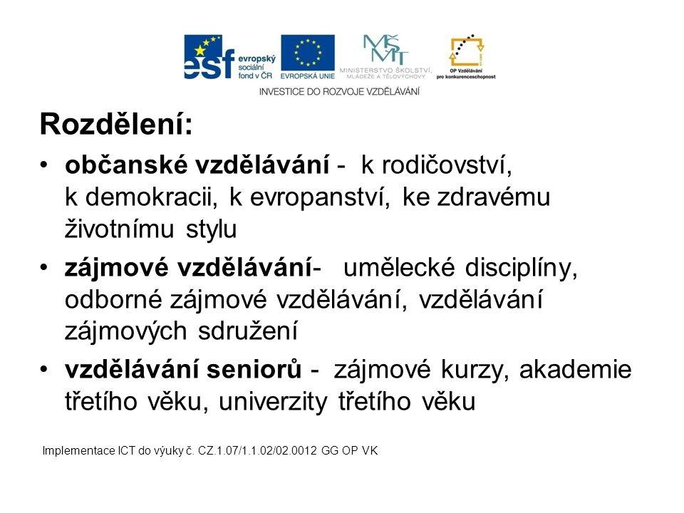 Rozdělení: občanské vzdělávání - k rodičovství, k demokracii, k evropanství, ke zdravému životnímu stylu zájmové vzdělávání- umělecké disciplíny, odbo