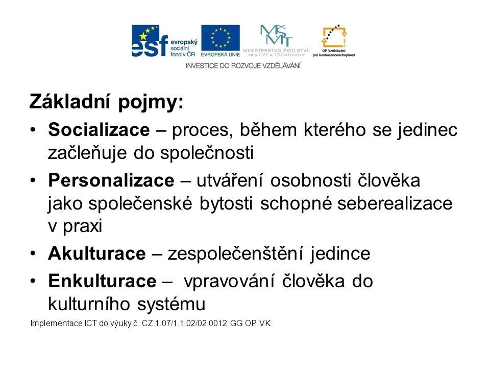Základní pojmy: Socializace – proces, během kterého se jedinec začleňuje do společnosti Personalizace – utváření osobnosti člověka jako společenské by