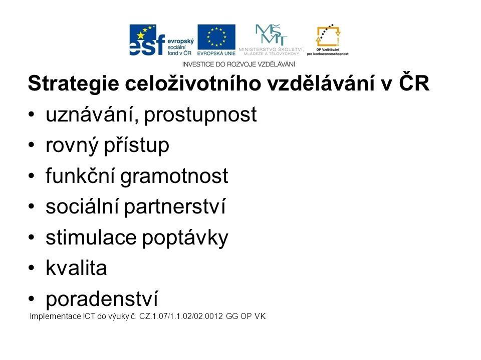 Strategie celoživotního vzdělávání v ČR uznávání, prostupnost rovný přístup funkční gramotnost sociální partnerství stimulace poptávky kvalita poraden