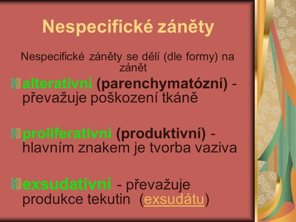 Nespecifické záněty Nespecifické záněty se dělí (dle formy) na zánět alterativní (parenchymatózní) - převažuje poškození tkáně proliferativní (produkt