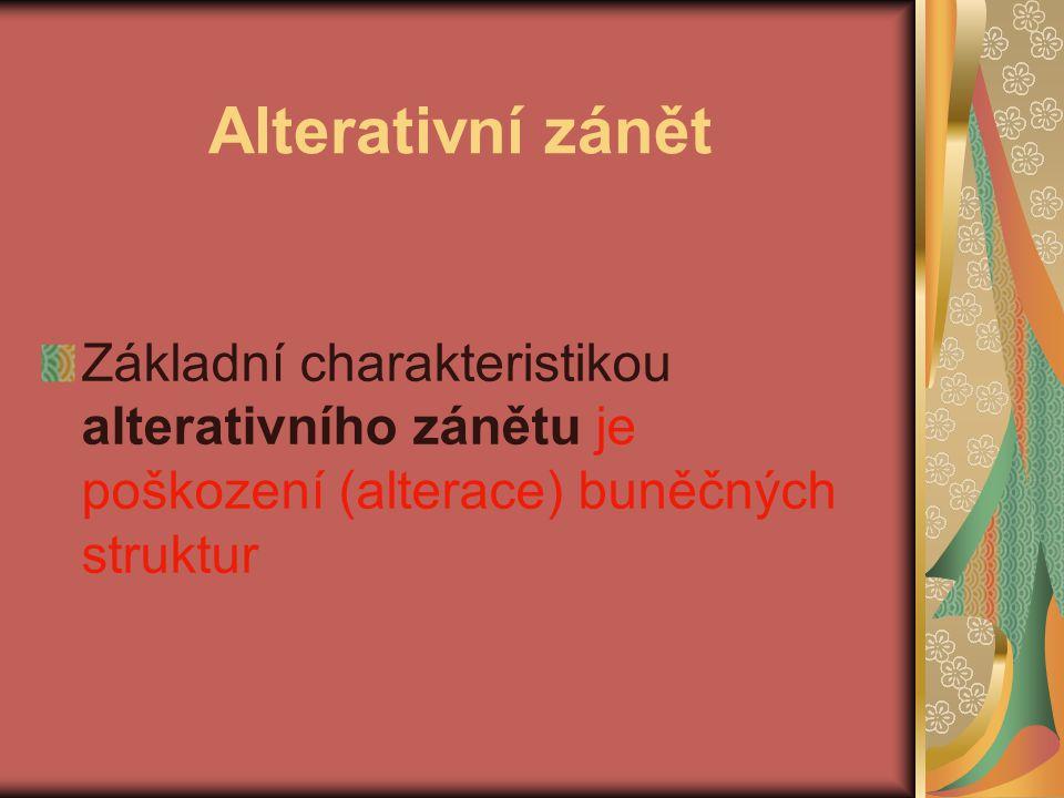 Alterativní zánět Základní charakteristikou alterativního zánětu je poškození (alterace) buněčných struktur