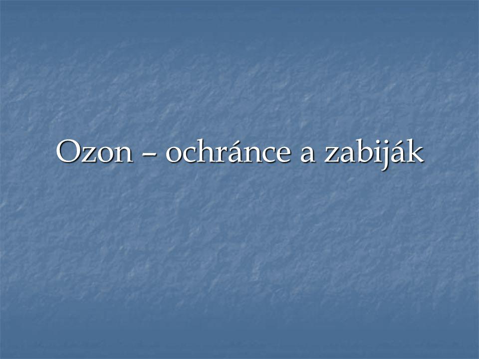 Ozon ●Chemický název trikyslík ●Nestabilní molekula ●Vznik elektrickými výboji nebo působením UV záření ●Jedovatý namodralý plyn s intenzivním zápachem