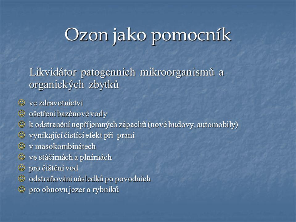 Ozon jako pomocník Likvidátor patogenních mikroorganismů a organických zbytků Likvidátor patogenních mikroorganismů a organických zbytků ve zdravotnic