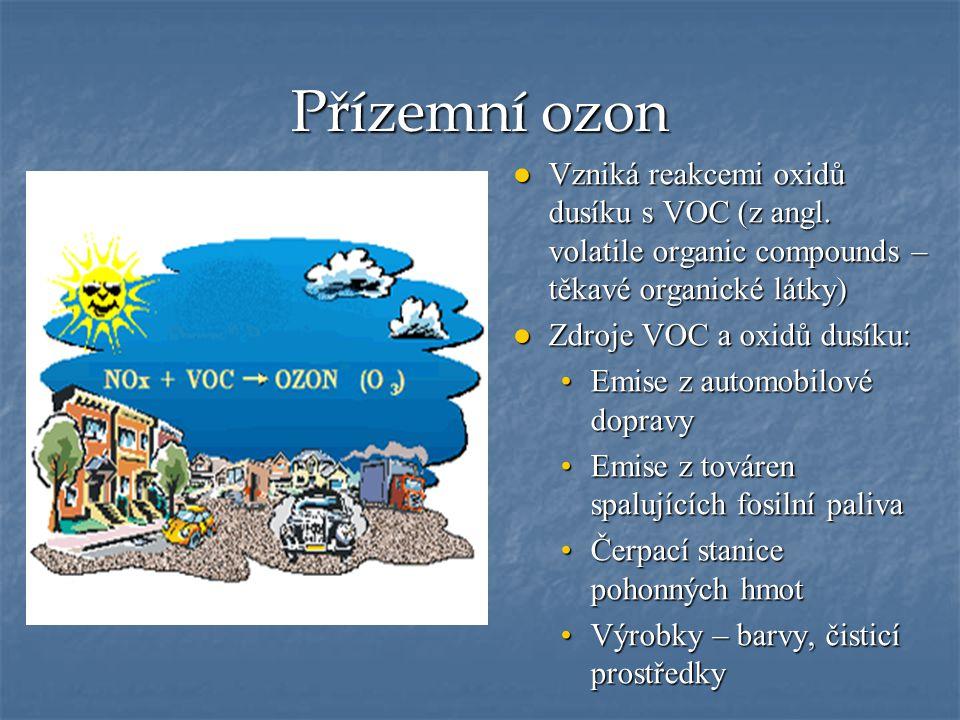 Přízemní ozon ● Vzniká reakcemi oxidů dusíku s VOC (z angl. volatile organic compounds – těkavé organické látky) ●Zdroje VOC a oxidů dusíku: Emise z a