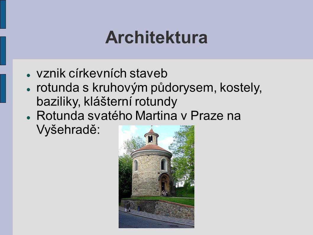 Architektura vznik církevních staveb rotunda s kruhovým půdorysem, kostely, baziliky, klášterní rotundy Rotunda svatého Martina v Praze na Vyšehradě: