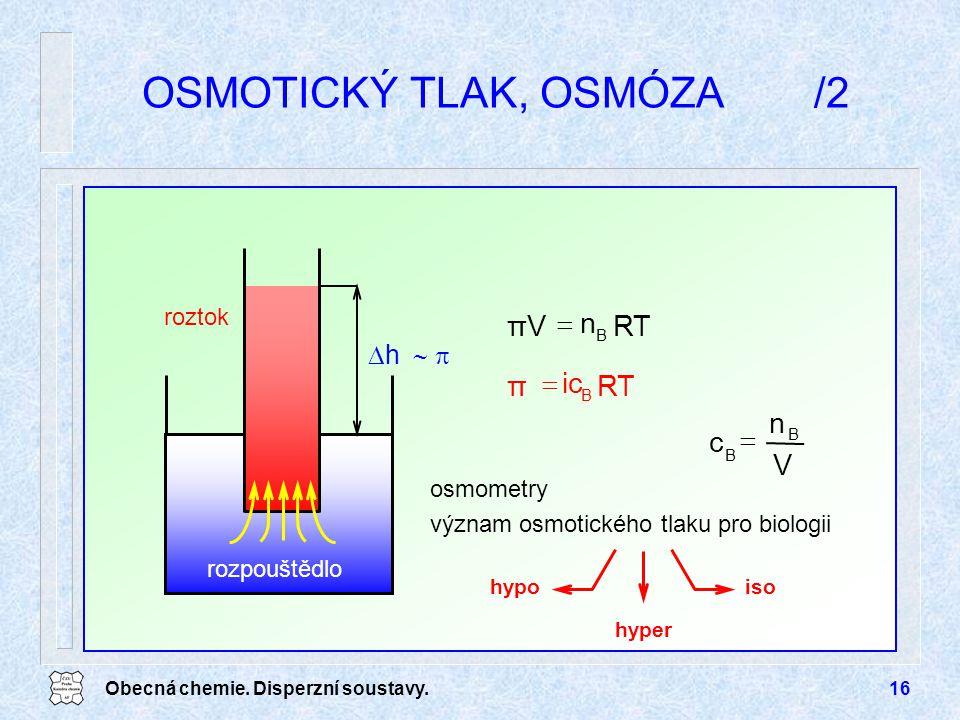 Obecná chemie. Disperzní soustavy.16 OSMOTICKÝ TLAK, OSMÓZA/2 osmometry význam osmotického tlaku pro biologii rozpouštědlo  h   roztok RTπV  n B