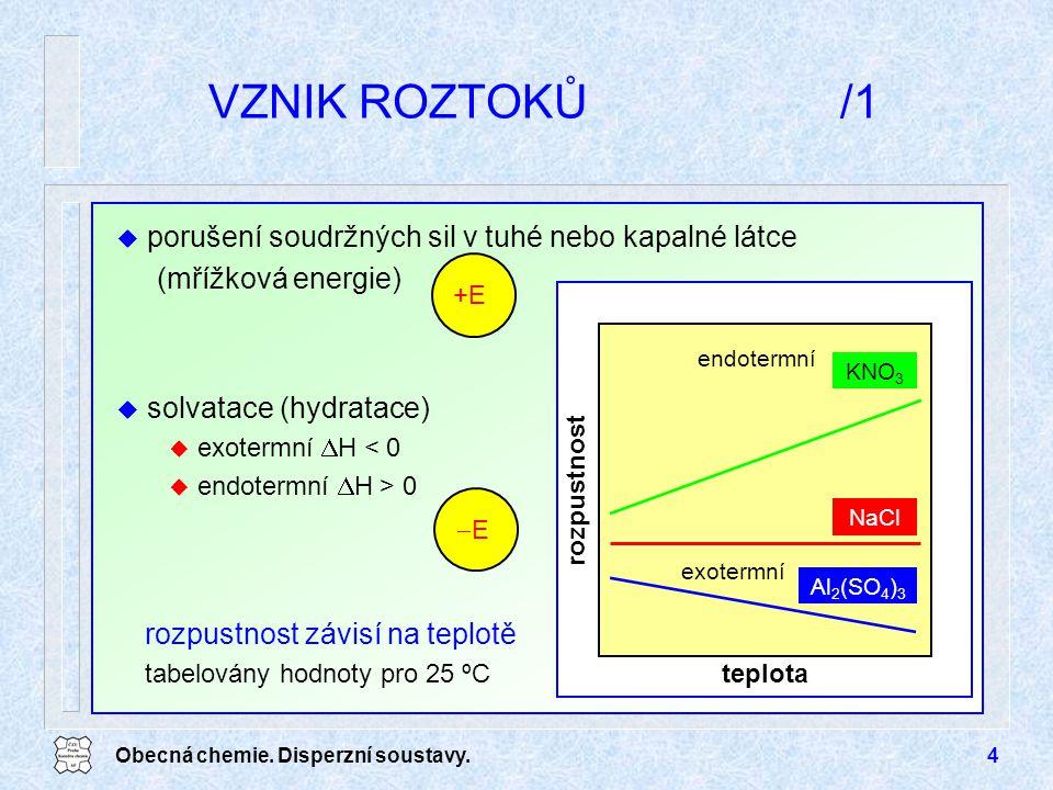 Obecná chemie. Disperzní soustavy.4 VZNIK ROZTOKŮ/1 teplota rozpustnost KNO 3 NaCl Al 2 (SO 4 ) 3 exotermní endotermní rozpustnost závisí na teplotě t