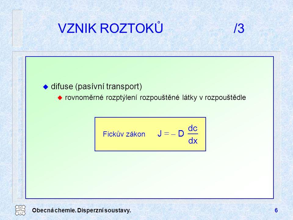 Obecná chemie. Disperzní soustavy.6 u difuse (pasívní transport) u rovnoměrné rozptýlení rozpouštěné látky v rozpouštědle VZNIK ROZTOKŮ/3 dx dc D  J