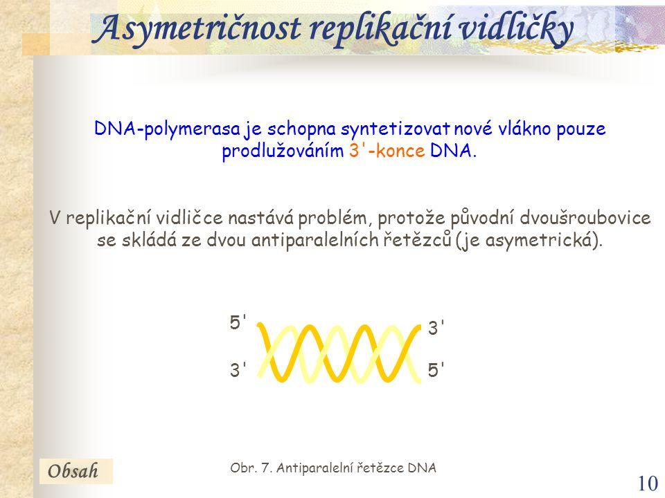 10 DNA-polymerasa je schopna syntetizovat nové vlákno pouze prodlužováním 3'-konce DNA. V replikační vidličce nastává problém, protože původní dvoušro