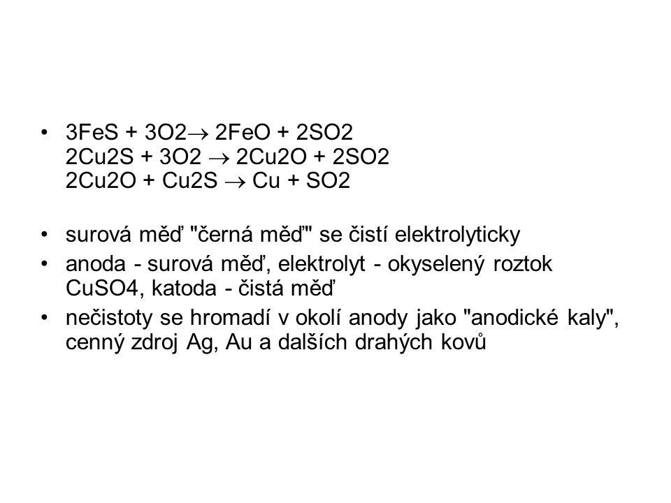 3FeS + 3O2  2FeO + 2SO2 2Cu2S + 3O2  2Cu2O + 2SO2 2Cu2O + Cu2S  Cu + SO2 surová měď