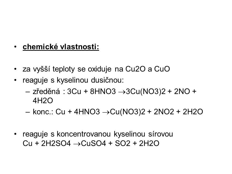 chemické vlastnosti: za vyšší teploty se oxiduje na Cu2O a CuO reaguje s kyselinou dusičnou: –zředěná : 3Cu + 8HNO3  3Cu(NO3)2 + 2NO + 4H2O –konc.: C
