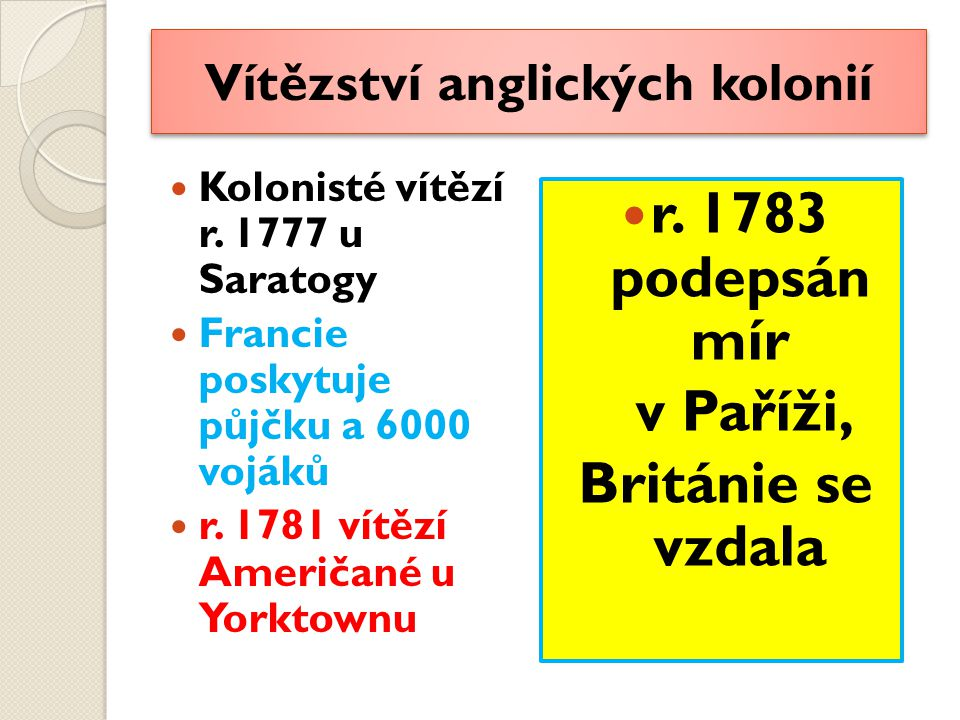 Vítězství anglických kolonií Kolonisté vítězí r.