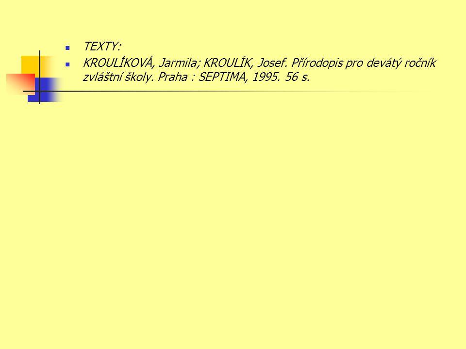 TEXTY: KROULÍKOVÁ, Jarmila; KROULÍK, Josef. Přírodopis pro devátý ročník zvláštní školy.