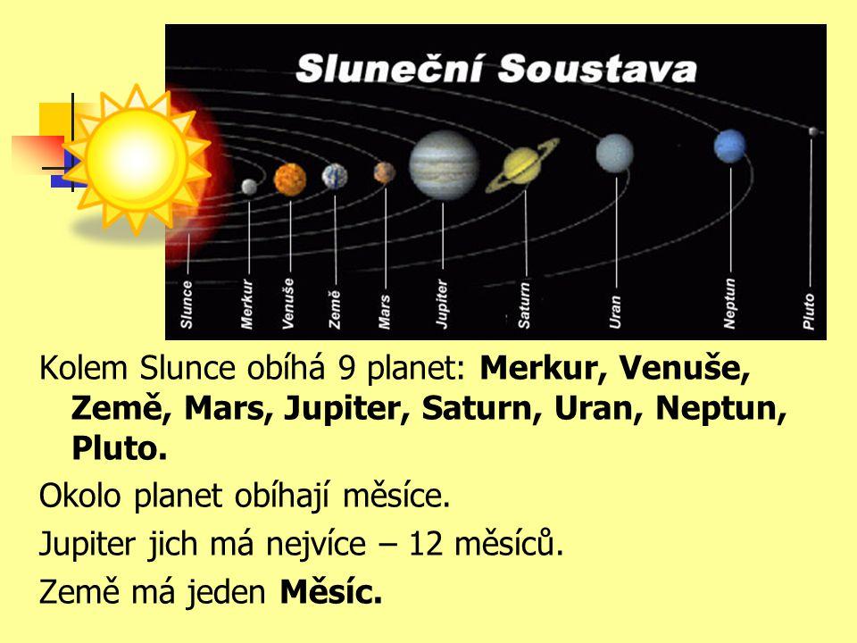 Kolem Slunce obíhá 9 planet: Merkur, Venuše, Země, Mars, Jupiter, Saturn, Uran, Neptun, Pluto.