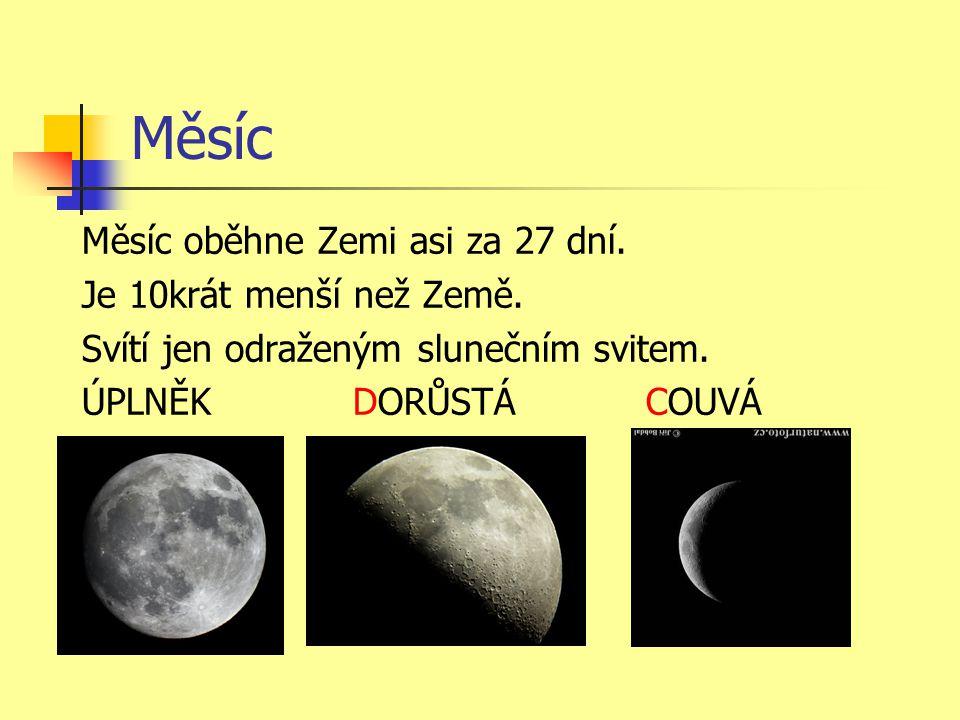 Měsíc Měsíc oběhne Zemi asi za 27 dní. Je 10krát menší než Země.