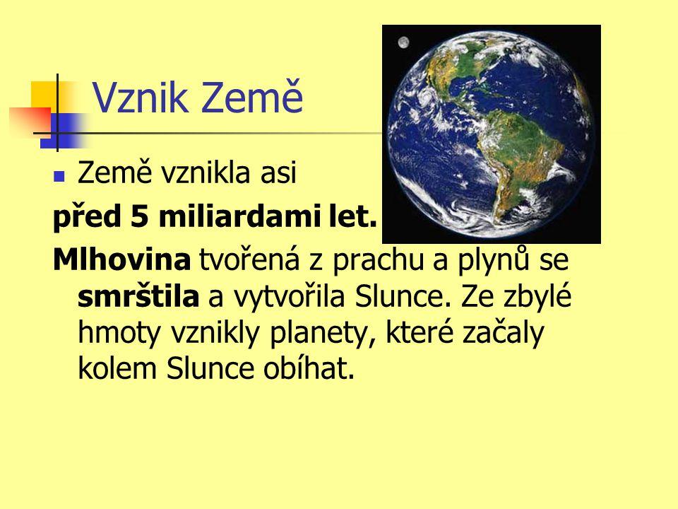 Vznik Země Země vznikla asi před 5 miliardami let.