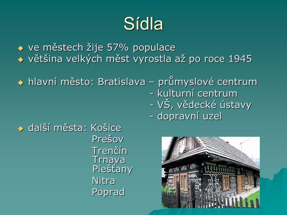 Sídla  ve městech žije 57% populace  většina velkých měst vyrostla až po roce 1945  hlavní město: Bratislava – průmyslové centrum - kulturní centrum - kulturní centrum - VŠ, vědecké ústavy - VŠ, vědecké ústavy - dopravní uzel - dopravní uzel  další města: Košice Prešov Prešov Trenčín Trnava Piešťany Trenčín Trnava Piešťany Nitra Nitra Poprad Poprad