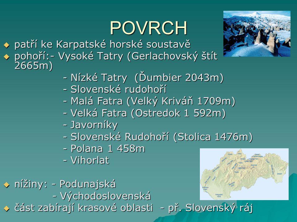 Cestovní ruch  největším lákadlem jsou Vysoké a Nízké Tatry  jedním z lyžařských středisek je Štrbské pleso  navštěvován je také Slovenský kras, jehož rozloha činí 2700km 2  doteď je registrováno víc než 1200 jeskyní různých velikostí, z nichž 12 je přístupno veřejnosti