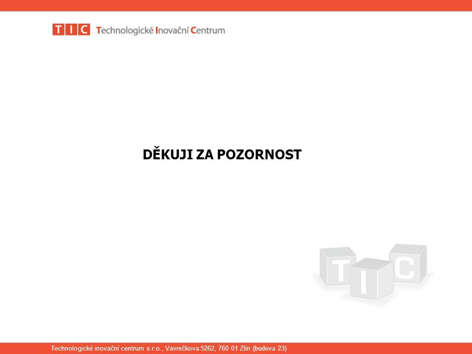 Technologické inovační centrum s.r.o., Vavrečkova 5262, 760 01 Zlín ( budova 23) DĚKUJI ZA POZORNOST