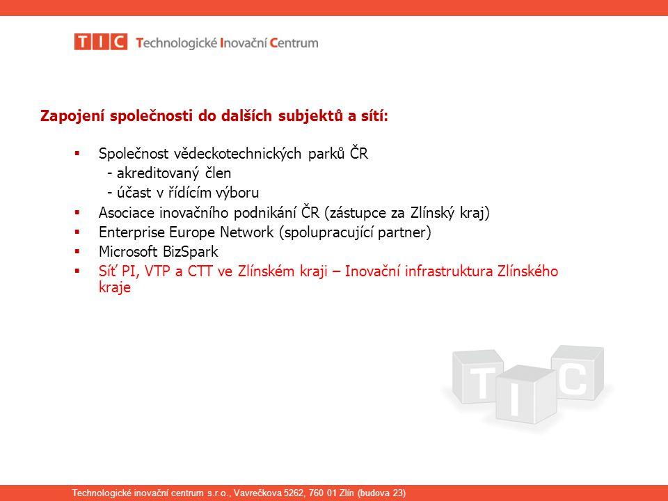 Technologické inovační centrum s.r.o., Vavrečkova 5262, 760 01 Zlín ( budova 23) Zapojení společnosti do dalších subjektů a sítí:  Společnost vědeckotechnických parků ČR - akreditovaný člen - účast v řídícím výboru  Asociace inovačního podnikání ČR (zástupce za Zlínský kraj)  Enterprise Europe Network (spolupracující partner)  Microsoft BizSpark  Síť PI, VTP a CTT ve Zlínském kraji – Inovační infrastruktura Zlínského kraje
