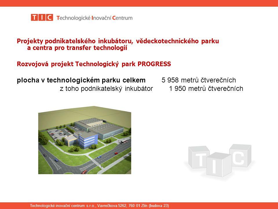 Technologické inovační centrum s.r.o., Vavrečkova 5262, 760 01 Zlín ( budova 23) Projekty podnikatelského inkubátoru, vědeckotechnického parku a centra pro transfer technologií Rozvojová projekt Technologický park PROGRESS plocha v technologickém parku celkem 5 958 metrů čtverečních z toho podnikatelský inkubátor 1 950 metrů čtverečních