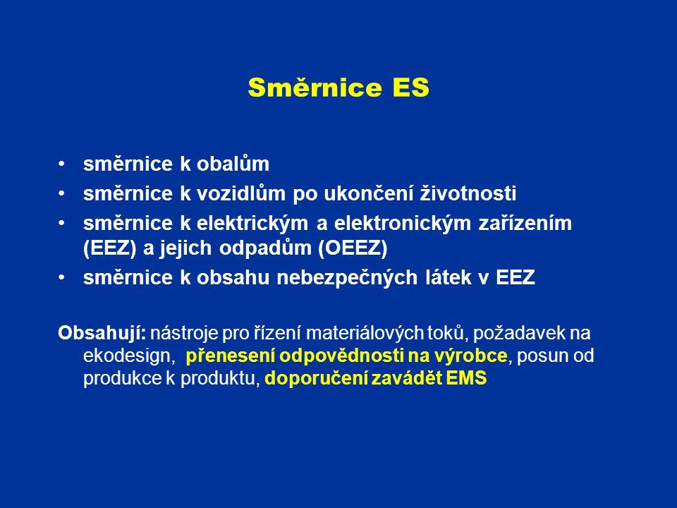 Směrnice ES směrnice k obalům směrnice k vozidlům po ukončení životnosti směrnice k elektrickým a elektronickým zařízením (EEZ) a jejich odpadům (OEEZ