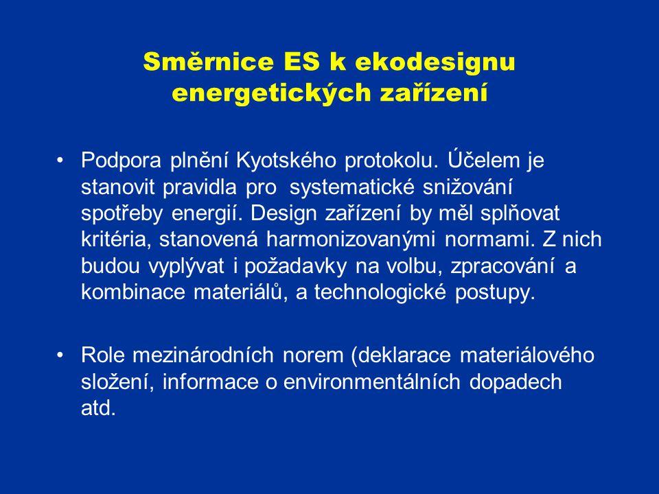 Směrnice ES k ekodesignu energetických zařízení Podpora plnění Kyotského protokolu. Účelem je stanovit pravidla pro systematické snižování spotřeby en
