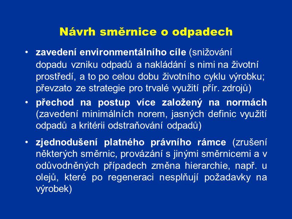 Návrh směrnice o odpadech zavedení environmentálního cíle (snižování dopadu vzniku odpadů a nakládání s nimi na životní prostředí, a to po celou dobu