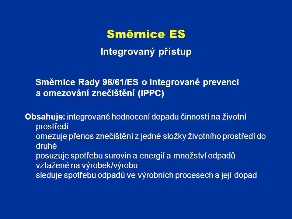 Směrnice ES Integrovaný přístup Směrnice Rady 96/61/ES o integrované prevenci a omezování znečištění (IPPC) Obsahuje: integrované hodnocení dopadu čin