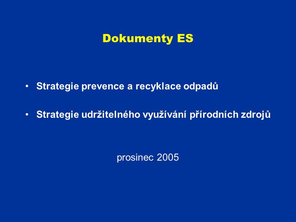 Dokumenty ES Strategie prevence a recyklace odpadů Strategie udržitelného využívání přírodních zdrojů prosinec 2005
